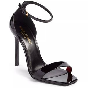 Saint Laurent YSL Amber Patent Heels Black 41